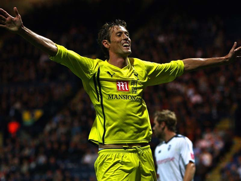 Tottenham's Peter Crouch celebrates his hat-trick against Preston North End