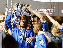 Chelsea celebrate winning the League Cup