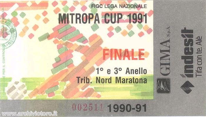 1991 Mitropa Cup Final ticket